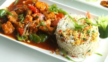 Dry Beef Chilli with Fried Rice